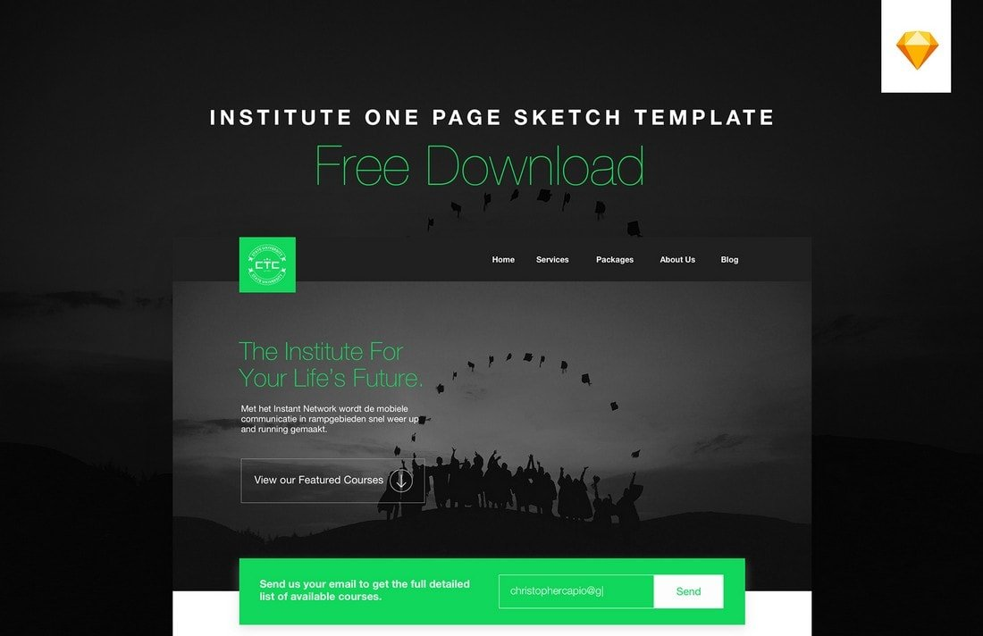 Institute - Free One Page Sketch Website Template