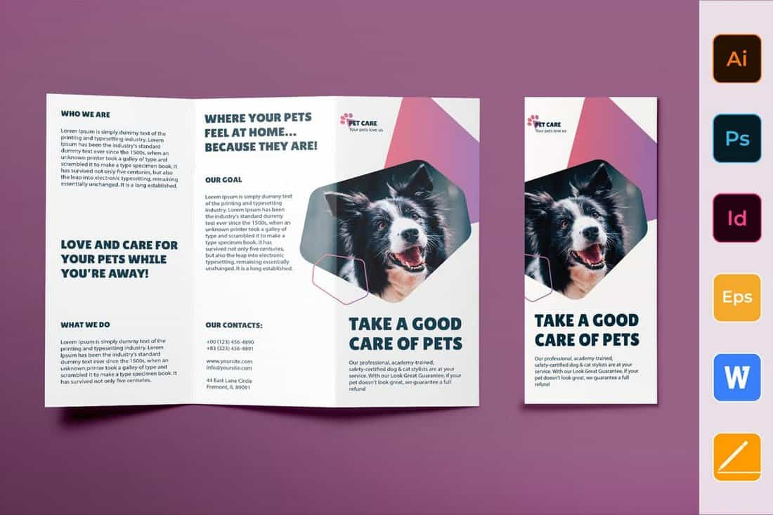 Pet Grooming Business Trifold Brochure Template
