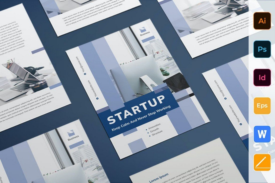 Startup Flyer Template for Word & PSD