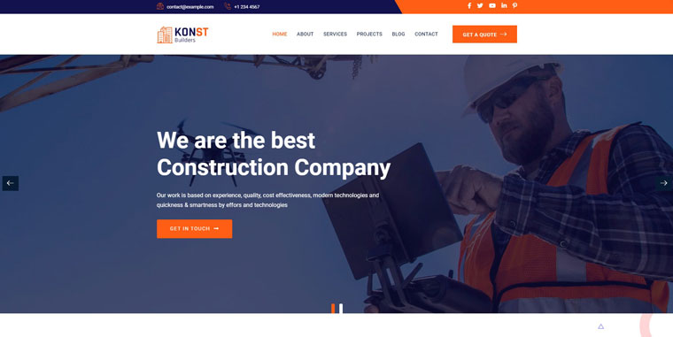 Konst - Building and Construction Bootstrap WordPress Theme.